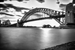 Harbour Bridge Kirri (K Michael F C) Tags: bw sea water harbour bridge sydney nsw australia bay harbourbridge kirribilli sunset longexposure filter city landscape architecture outdoor scene work building