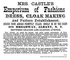 1870 mrs castle's emporium of fashions (albany group archive) Tags: albany ny 1870 mrs castle emporium fashions broadway dressmaking fashion cloak dress