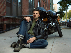 Anton Martynov PHOTOGRAPHY (Sneaky Russian) Tags: moto motorcycle model ford male photoshoot portrait anton martynov nyc newyock brooklyn whilliamsburs bike jacket leather cafe racer nikon elnchrome tethered tethertools dicta tom cruise tomcruise