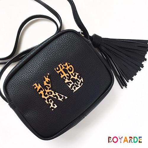Alphabet leopard black cross body leather by BOyarde copy