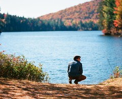 Zach At The Lake (Nick Spadaro) Tags: pentax 67 medium format film lake adirondacks fall autumn