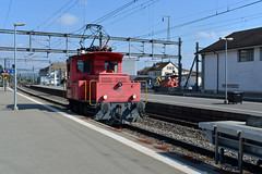 MBC standard gauge switcher hauls flat to the interchange track (pchurch92) Tags: switzerland morges bma mbc sbb switcher