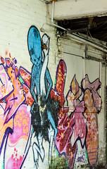 riding the angry ostrich to work (PDKImages) Tags: emaiated television streetart sheffieldstreetart backstreet city abandoned urban art girl relaxing windows broken kissing wall urbanart cracken mural guarding