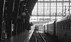 Antwerp Central Belgium 4th December 2016 (loose_grip_99) Tags: antwerp belgium station railway railroad rail transportation architecture trains railways december 2016 electric sncb noiretblanc trainshed roof antwerpen centraal