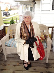 If I Am Going To Present Myself As A Woman . . . (Laurette Victoria) Tags: woman porch laurette milwaukee coat gloves scarf silver