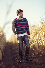 Country Christmas Jumper in Corn Field (AlexanderMoore) Tags: alexandermoore christmas xmas sweater jumper winter corn field cornfield farmer farm farming yorkshire rural agriculture land man walk festive tractor