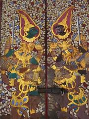 Temple doors (tom_2014) Tags: buddhist buddha temple buddhisttemple thailand bangkok watsuthattepwararam suthattepwararam wat doors art beautiful painting templeart mythological buddhistart asia asian religion religious ornate intricate southeastasia thai