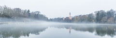 20161206_F0001: The English winter fog (wfxue) Tags: universityofnottingham universityparkcampus boatinglake lake trentbuilding clock tower clocktower trees water reflection fog foggy wet cloudy mist misty clouds winter longexposure