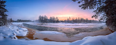 River Kiiminkijoki moonrise and sunset (M.T.L Photography) Tags: landscape panorama clouds trees water nordic horizon winter color copyright suomi finland nikond810 mtlphotography sunset koiteli kiiminki winterwonderland moonrise