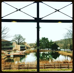 Park School ~ my view from the treadmill (karma (Karen)) Tags: parkschool pikesville maryland ponds trees windows buildings squared iphone hff