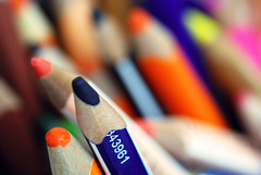 Colored pencils (jimiliop) Tags: blue orange color colour macro contrast pencils painting dof diagonal colored