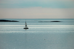 Calm sea (Thomas T. Berge) Tags: ocean blue sea summer seascape bird weather norway clouds sailboat canon landscape islands boat sailing silent view north july calm rogaland 600d myklebust