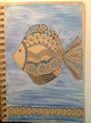 Zentangle fish (anviss) Tags: fish illustration doodle vis gesso illustratie uniball tekening signo gelpen aquarelpencil zentangle aquarelpotlood