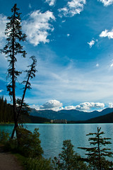 Blue Skies and Turquoise Waters (aitramah) Tags: travel trees sky lake canada mountains water vertical clouds bluesky shore alberta lakelouise verticallandscape verticalphotography verticalnature