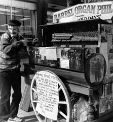 Barrel Organ Phil (Peter Barker) Tags: street music white black west monochrome rolleiflex phil barrel stroke organ disabled walsall midlands copyrightpeterbarker
