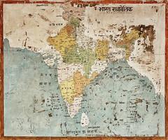 Vermessung Indiens. Indien-Karte in Schule, Todgarth.