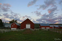 Twilight on the Farm (wyojones) Tags: sunset red chimney white grass clouds farmhouse barn rural fence twilight vermont farm shed np putney dummerston outbuildings rurallife windhamcounty sweettreefarm wyojones