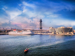 Port Vell, the World Trade Center Barcelona , Port Vell Aerial Tramway and Torre Agbar (jjamv) Tags: barcelona city sea summer sky urban panorama building tower water skyline architecture clouds port buildings landscape puerto harbor mar spain arquitectura europe ship cityscape torre harbou