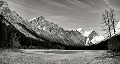 I think we're alone now (CNorthExplores) Tags: park travel autumn bw white lake canada black canon rockies jasper canadian national alberta summit lower g11 explored