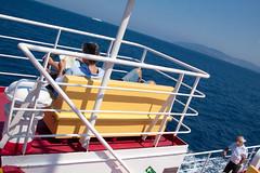 . ([ chang ]) Tags: red sea people color colour water yellow ferry island boat elba mare persone giallo oblique rosso isle isla isola streetshot traghetto piombino obliqua