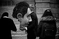 Headless (Mr. Pebble / Bildwerfer) Tags: street party berlin gabriel monochrome germany demo deutschland politik blackwhite mask puppet expression political politics great protest streetphotography social demonstration reichstag government coalition chairman bundestag regierung democratic staat spd opinion grose maske ostberlin partei koalition stre schwarzweis koalitionsverhandlungen strase sigmar streetfotografie strasenfotografie