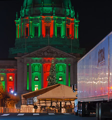big party coming (pbo31) Tags: sanfrancisco california night nikon d200 larkin december 2013 dark panoramic stitched large panorama holiday season christmas holidays lights color christmastree party cityhall truck civiccenter green red reflection