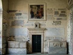 Santa Maria in Trastevere. Rome 2007 (Tiigra) Tags: 2007 italy rome trastevere animal architdetail carving cemeteryortomb church city door lion painting wall lazio art pattern