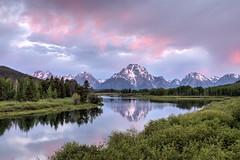 Oxbow Bend (Jeremy Duguid) Tags: park morning travel pink sky cloud mountain lake mountains color reflection nature colors clouds sunrise canon landscape dawn colours mt hole bend cloudy parks overcast grand jeremy jackson lodge mount national teton tetons moran oxbow duguid
