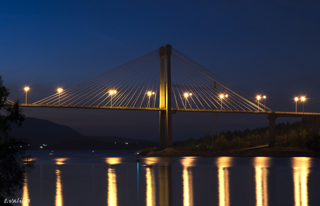 ccaf9905f55 Half bridge (t.valilas) Tags: bridge architecture reflections greece  bluehour evia chalkida