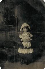 Tintype of Ina (sctatepdx) Tags: tintype littlegirl vintagedoll vintagedress lacecap lacedress vintagegirl lacehat vintagetintype