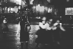 School's out for (Sergio Castillo Jimnez) Tags: school bw girl standing waiting alone escape end salida schoolgirl mochila bullying schoolsout uniformes escolares cuscodenoche