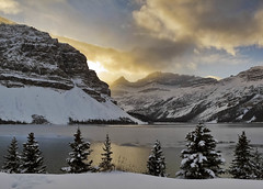 It's a cold, cold world (CNorthExplores) Tags: park travel autumn trees light lake snow canada mountains clouds canon rockies canadian national alberta bow banff g11 explored