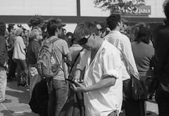 Frank, checking in (Adam Chin) Tags: sanfrancisco bw kodaktrix zeissikon frankchu japantown checkin