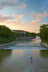 Goodnight Munich (James Whitlock Photography) Tags: city travel sunset sky cloud sun house fish colour reflection tree tourism water sunrise canon buildings river munich fire fisherman sigma haus center 7d bier 1020 hitech banks gravel hofbrau weir