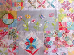 Green Tea And Sweet Beans Quilt Top (Rhapsody and Thread) Tags: flower green liberty beans jen tea sweet fabric and quilts applique kingwell fabricliberty