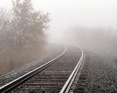 Around the Bend (Gerry Marchand) Tags: olympus omd em5 fog saskatoon saskatchewan railway tracks curve