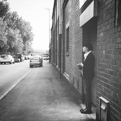 Effingham Road (Sheffield_Streets) Tags: danscape hat spring blackandwhite sheffieldstreets break woman bnw smoking sheffield steelcity flatcap stonework smokebreak