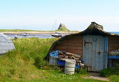 Lindisfarne boat shed (Niall Corbet) Tags: england northumberland lindisfarne holyisland castle boat door house shed
