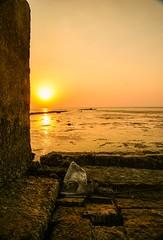 Abandoned  ... (Hazem Hafez) Tags: sun sunset lake fishermenshut old empty leftbehind sky egypt qarounlake fayoum