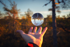 Nature ball (L.Matero) Tags: canon 6d sigma 35mm f14 art leivonmki national park nature trees duckboard finland suomi ball glassball glass hand capture fall sky sunset reflection mirror image