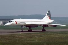 G-BOAG Concorde EGPK 1985 (MarkP51) Tags: gboag bac aerospatiale concorde britishairways ba baw prestwick airport pik egpk scotland aviation airliner aircraft airplane plane image markp51 nikon kodachrome 64 slide film aviationphotography