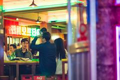 Classic Restaurant Scene (Jon Siegel) Tags: nikon nikkor d810 85mm men boys neon night interior restaurant signage design classic authentic people dinner dining moody lighting spacious seoul korea korean southkorea