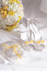 wedding day (Brother's Art) Tags: beautiful beauty bride celebration elegance fashion gold luxury wedding accessory background bouquet color detail elegant female glamour object pair pretty rings shoe shoes style stylish two white yellow