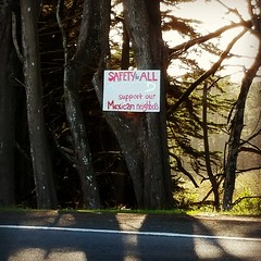California's Smallest Sanctuary City (rickele) Tags: safetypin safespace reactiontotrumpimmigrationpolicy welcomesign handpaintedsign racialsensitivity culturalsensitivity pointarenacalifornia californiahighway1 hwy1 shorelinehighway mendocinocounty