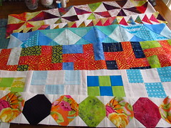 Row by Row quilt rows by Janie 2015 (crazyvictoriana) Tags: batiks snowball blocks kaffe fasset heather ross rows pinwheels squareinasquare quilt