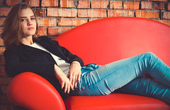 2667-1 (i.gorshkov) Tags: girl portrait fashion look female studio light color jeans jacket style hair indoor pretty posing people model cute interior blue sight eyes lips blond