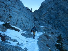 Mt Yamnuska Summit Scramble - Ben heads to one of the little cruxes (benlarhome) Tags: yamnuska alberta canada kananaskis scramble scrambling hike hiking trek trekking trail