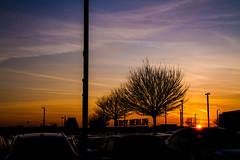 sunset - parking place (michalbiernat) Tags: parking sunset sky orange cars car krakow poland