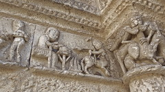 DSCF0101 glise Saint-Jacques d'Aubeterre-sur-Dronne (Charente) (Thomas The Baguette) Tags: aubeterresurdronne charente france monolith cave church tympanum glise glisenotredame saintjacques caminodesantiago sexyguy chateau cloister minimes mithra mithras cult