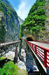 Taroko Gorge (Taiwan) (Alienture) Tags: taroko gorge taiwanrising above froth bluegreen liwu river marble walls yes swirl with colours masters palette add grey mist lush vegetation waterfalls seemingly tumbling down from heaven you truly have classic landscapephotography